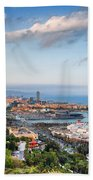 City Of Barcelona From Above At Sunset Beach Towel