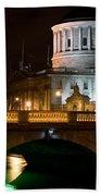 City Of Dublin At Night In Ireland Beach Towel