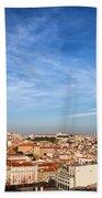 City Of Lisbon At Sunset Beach Towel
