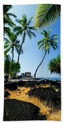 City Of Refuge - A View Of A Hawaiian Traditional House  Beach Towel
