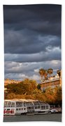 City Of Seville At Sunset Beach Towel