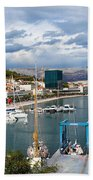 City Of Split Port In Croatia Beach Towel