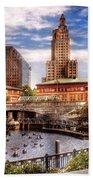 City - Providence Ri - The Skyline Beach Towel by Mike Savad