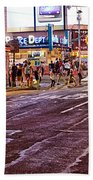 City Scene - Crossing The Street - The Lights Of New York Beach Towel
