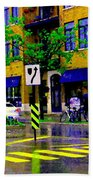 City Street Relections In The Rain Quebec Art Colors And Seasons Montreal Scenes Carole Spandau Beach Towel