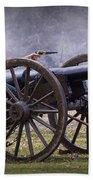 Civil War Reenactor Firing A Revolver Beach Towel