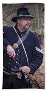 Civil War Union Soldier Reenactor Loading Musket Beach Towel