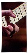 Clapton Playing Guitar - Watercolor Painting Beach Towel