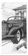 Classic Auto With Formal Gardens Beach Towel