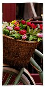 Classic Bicycle With Tulips Beach Towel