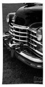Classic Cadillac Sedan Black And White Beach Towel