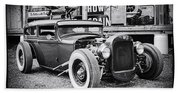 Classic Hot Rod In Black And White Beach Sheet