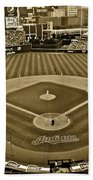 Cleveland Baseball In Sepia Beach Towel