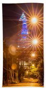 Cleveland Downtown Street View At Night Beach Towel