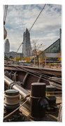 Cleveland From The Deck Of The Peacemaker Beach Towel by Dale Kincaid