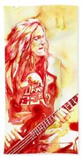 Cliff Burton Playing Bass Guitar Portrait.1 Beach Towel