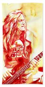 Cliff Burton Playing Bass Guitar Portrait.1 Beach Towel