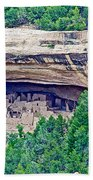 Cliff Palace From Chapin Mesa Top Loop Road In Mesa Verde National Park-colorado  Beach Towel