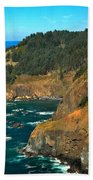 Cliffs At Cape Foulweather Beach Towel by Adam Jewell