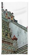 Climbing Many Steps At Temple Of The Dawn-wat Arun In Bangkok-th Beach Towel