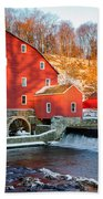 Clinton Mill In Winter Beach Towel