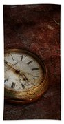 Clock - Time Waits Beach Towel by Mike Savad