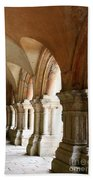 Cloister In Fontenay Abbey, France Beach Towel