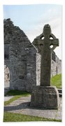 Clonmacnoise Cathedral  And High Cross Ireland Beach Towel