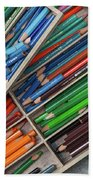 Close-up Of Color Pencils, Ishoj Beach Towel