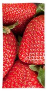 Close Up Of Delicious Strawberries Beach Sheet
