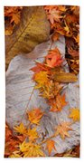 Close-up Of Fallen Maple Leaves Beach Towel