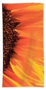 Close Up Of The Florets And Petals Of A Sunflower Beach Towel