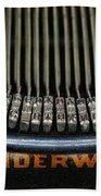 Close Up Of Vintage Typewriter Keys. Beach Towel