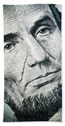 Closeup Of A Five Dollar Bill Beach Towel