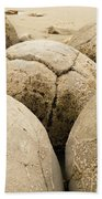 Closeup Of Famous Spherical Moeraki Boulders Nz Beach Towel