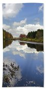 Autumn Lake Reflection Landscape Beach Towel
