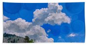 Clouds Loving A Friendly Mountain Landscape Painting Beach Towel