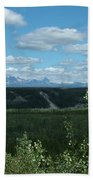 Clouds Mountains And Trees Beach Towel
