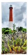 Cloudy At Barnegat Light Beach Towel