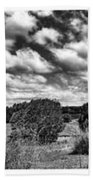 Cloudy Countryside Collage - Black And White Beach Towel