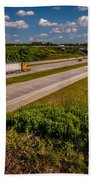 Clover Leaf Exit Ramps On Highway Near City Beach Towel