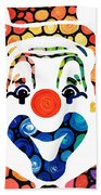 Clownin Around - Funny Circus Clown Art Beach Towel by Sharon Cummings