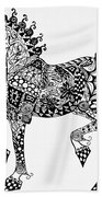 Clydesdale Foal - Zentangle Beach Towel