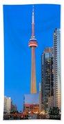 Cn Tower By Night Beach Towel