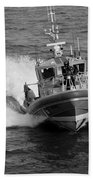 Coast Guard In Black And White Beach Towel
