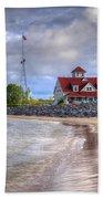 Coast Guard Station In Muskegon Beach Towel