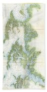 Coast Survey Chart Or Map Of The Chesapeake Bay Beach Towel