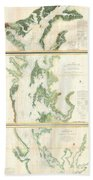 Coast Survey Map Of The Chesapeake Bay  Beach Towel