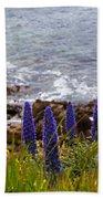 Coastal Cliff Flowers Beach Towel