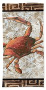Coastal Crab Decorative Painting Greek Border Design By Madart Studios Beach Towel